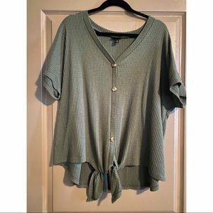 TORRID Olive Green T-Shirt Blouse with Tie.